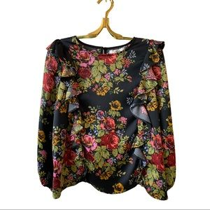 Likely Highland Floral Ruffle Blouse